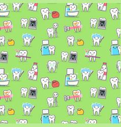 Healthy teeth care treatment and hygiene seamless vector