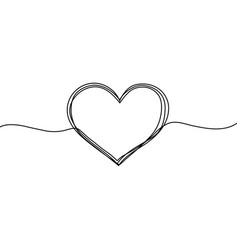 Heart in line style sketch love with vector