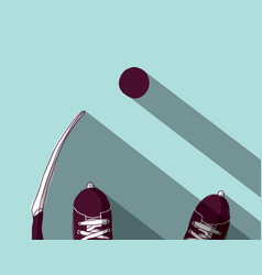 ice hockey skates stick and puck top view vector image