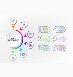 infograph 6 steps element diagram process with vector image