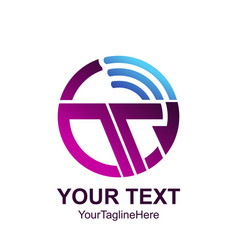 Initial letter t logo template colored purple vector
