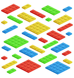 Isometric building block toy kids bricks vector