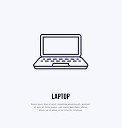 laptop notebook with blank screen flat line style vector image