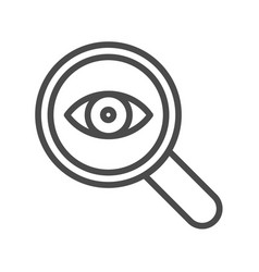 Magnifier with eye outline icon linear style sign vector