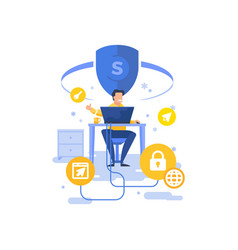 Man approving computer security app vector