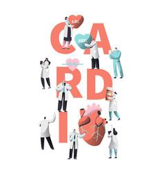 Medical cardiology worker wellness heart health vector