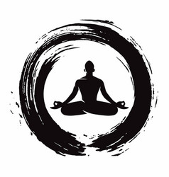 Meditation zen circle brush vector