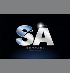 Metal blue alphabet letter sa s a logo company vector