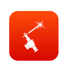 mig welding torch in hand icon digital red vector image