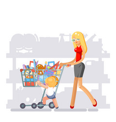 mother parent shopping equipment for kid school vector image