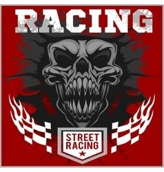 Motor racing demon - emblem for t-shirt vector