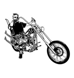 motorcyclist on chopper motorcycle vector image