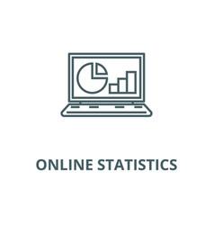 online statistics data analytics line icon vector image
