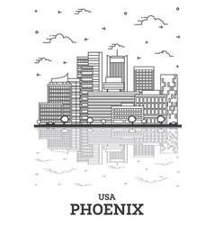 Outline phoenix arizona usa city skyline vector