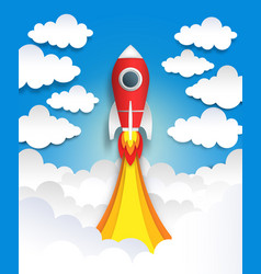 paper cut rocket origami space art flat cartoon vector image