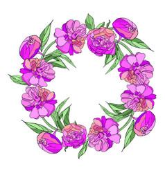 pink peony wreath vector image