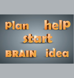 Plan help start brain idea - infographic word vector