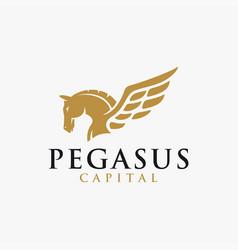 Powerful elegance pegasus logo template vector