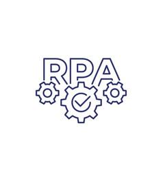 Rpa robotic process automation line icon vector