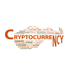Ryptocurrency word cloud concept on white vector
