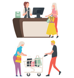 Sale old collection buy clothes package vector