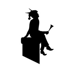 Scandinavian folklore elf silhouette vector