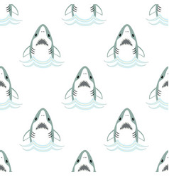 seamless pattern cute shark isolated on white vector image