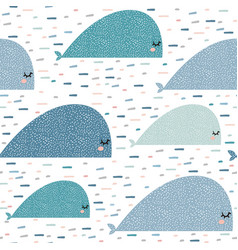 Seamless pattern with cartoon whales childish vector