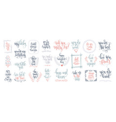 set 25 hand lettering inscription to wedding vector image
