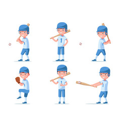 set boy baseball player in sports uniform vector image