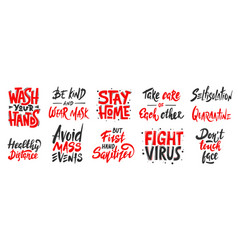 set quarantine hand drawn unique typography vector image