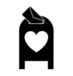 Silhouette love mail post box message valentine vector