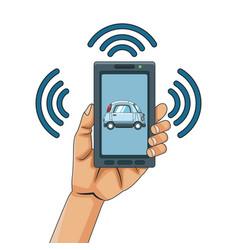 smart car smarthphone app vector image