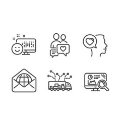 smile dating chat and romantic talk icons set vector image