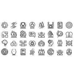 Sociology icons set outline style vector