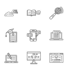 store of knowledge icons set outline style vector image