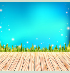 Summer background with wooden deck wood floor vector