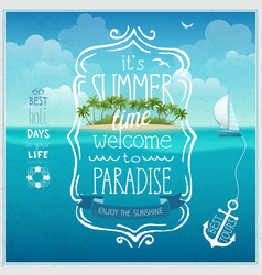Summer time poster with tropical background vector