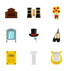 Theatre art and acting icons set flat style vector