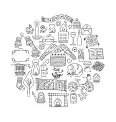 time to hygge hand drawn doodle icons set vector image
