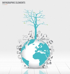 Tree on modern world globe with application icon vector image