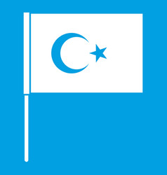 Turkish flag icon white vector