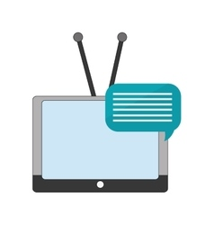tv with antenna and conversation bubble icon vector image