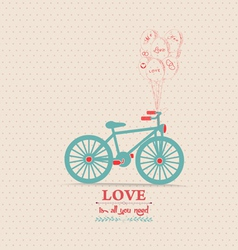 Valentines poster with balloons bicycle card vector