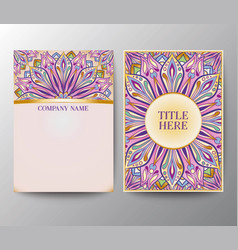 vintage postcards with a floral mandala ornament a vector image