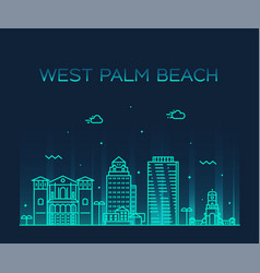 west palm beach skyline florida usa linear vector image