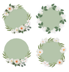 white camellia flower on green circle background vector image