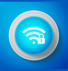 wifi locked sign icon isolated on blue background vector image