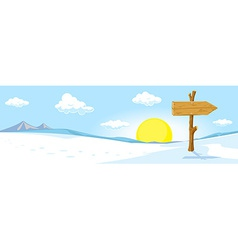winter landscape with footprint in snow and sign vector image