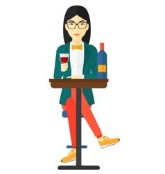 Woman sitting at bar vector image